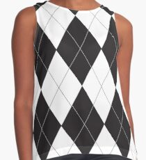 Black and White Argyle Contrast Tank