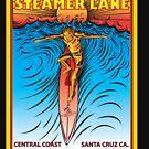 STEAMER LANE SANTA CRUZ CA. SURFING by Larry Butterworth