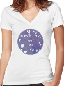 Flexibility, Love, and Trust Women's Fitted V-Neck T-Shirt