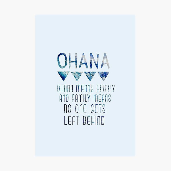 Ohana significa familia Lámina fotográfica