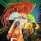 Aztekisches Feuer-Tänzer-Portrait von Dreamy Scribbles
