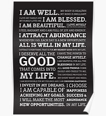 Positive Affirmations (White on Black) Poster