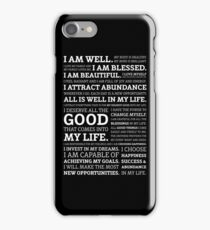 Positive Affirmations (White on Black) iPhone Case/Skin