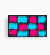 pink and blue pixel abstract with black background Canvas Print