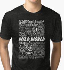 WILD WORLD - SONG TITLES (DARK) Tri-blend T-Shirt