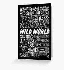 WILD WORLD - SONG TITLES (DARK) Greeting Card