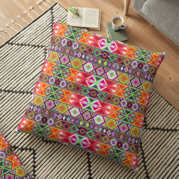 Bohemian Coloured Geometric Oriental Moroccan Style Floor Pillow