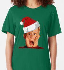 Home Alone Santa Hat T-Shirt: Macaulay Culkin Christmas Holiday Slim Fit T-Shirt