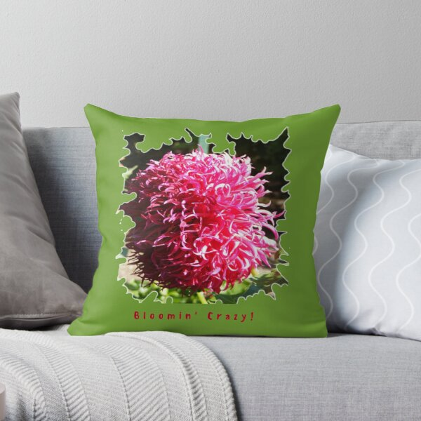 CUTE PINK DAHLIA FLOWER PETALS FUNNY QUOTE Throw Pillow