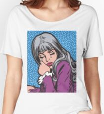 Silver Hair Crying Comic Girl Women's Relaxed Fit T-Shirt