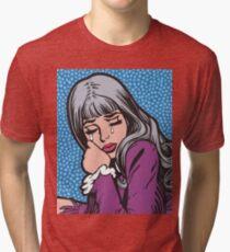 Silver Hair Crying Comic Girl Tri-blend T-Shirt