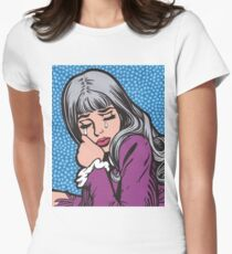 Silver Hair Crying Comic Girl Womens Fitted T-Shirt