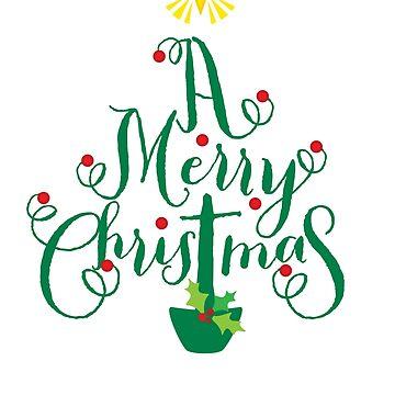 FESTIVE CHRISTMAS T-SHIRT :: christmas tree type by edgeplus