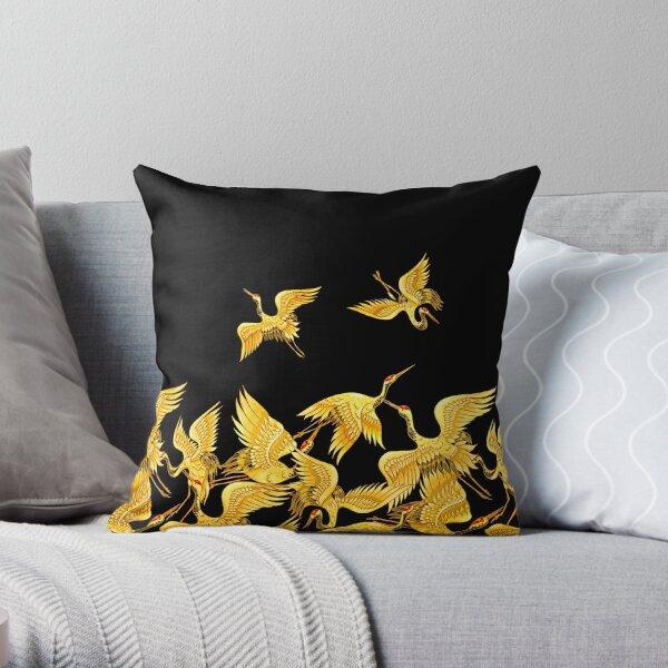 Golden Japanese Cranes Oriental Throw Pillow