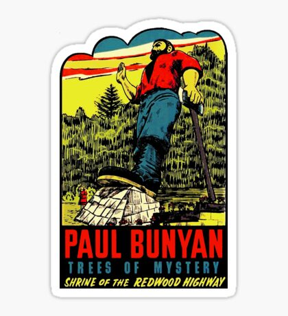 Paul Bunyan Redwood Highway California Vintage Travel Sticker