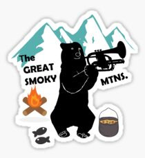 The Great Smoky Mountains Smokey Bluegrass Bear black Sticker