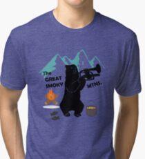 The Great Smoky Mountains Smokey Bluegrass Bear black Tri-blend T-Shirt