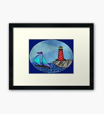 Lighthouse & Sailboat seascape Framed Print