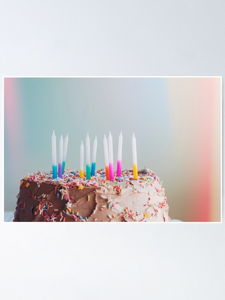 Brilliant Birthday Cake With Candles Poster By Vannphotography Redbubble Funny Birthday Cards Online Elaedamsfinfo