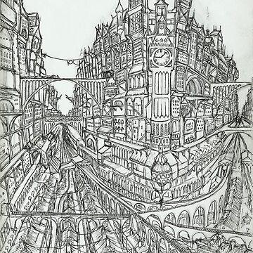 Steampunk Victorian City Skyline Clock Tower Sketch by Steampoweredfox