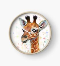 Baby Giraffe Watercolor Painting, Nursery Art Clock