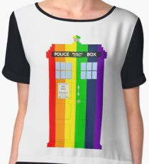 Rainbow Tardis Women's Chiffon Top