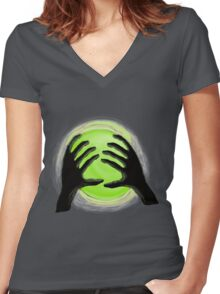 Green Sphere  Women's Fitted V-Neck T-Shirt