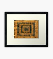 brown black and orange pixel abstract background Framed Print