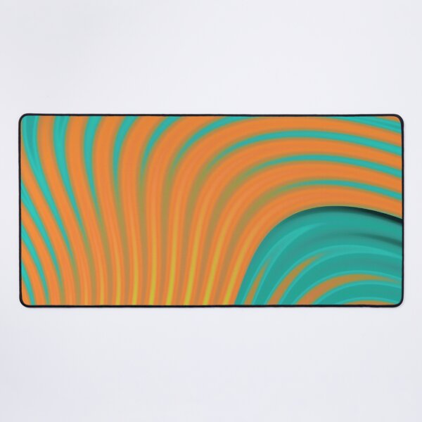 Abstract print  design with colorful gradient stripes and waves, orange, green Desk Mat