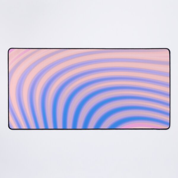 Abstract print  design with colorful gradient stripes and waves, blue, pink Desk Mat