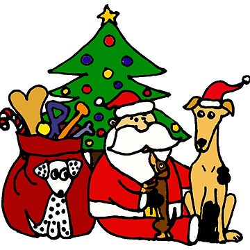 Santa Claus and Dogs Christmas Art by ragodzbehindz12