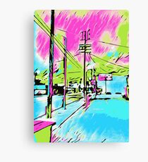 drawing and painting blue city with pink and green sky Canvas Print