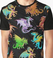 Colorful Rainbow Dragons School Graphic T-Shirt