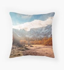 autumn sunrinse in the valley Throw Pillow