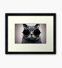 Cat with glasses poster Framed Print