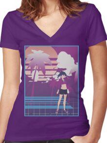 Kanbaru Minimal Women's Fitted V-Neck T-Shirt