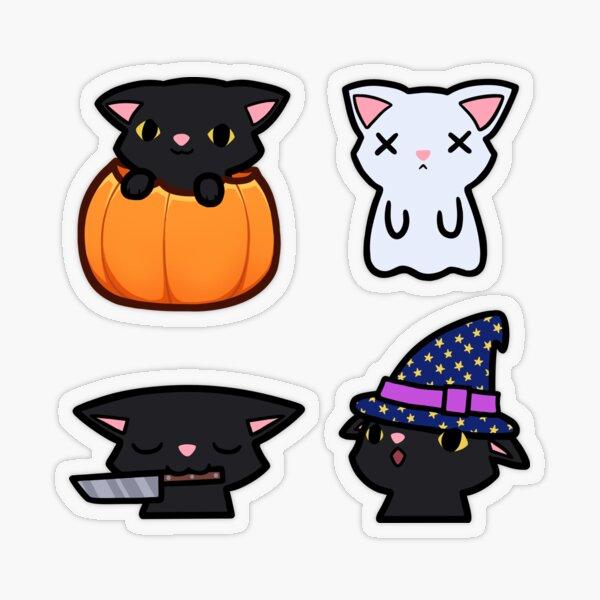 a set of halloween black cat stickers Transparent Sticker