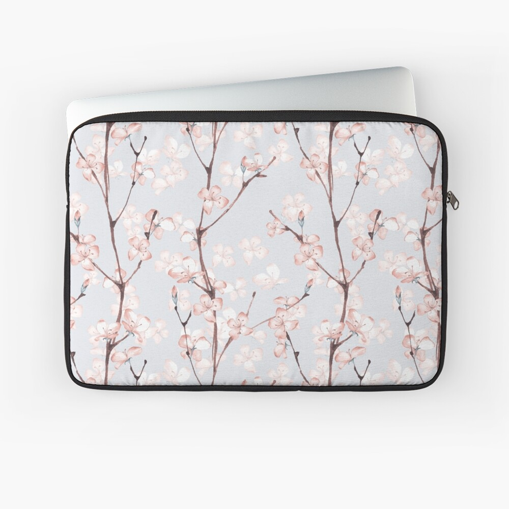 Blossom. Watercolor seamless floral pattern Laptop Sleeve Front