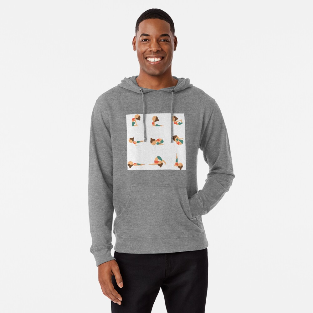9 Yoga Poses Lightweight Hoodie By Clgtart Redbubble