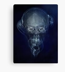 Skull and smokes - blue version Canvas Print