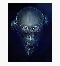 Skull and smokes - blue version Photographic Print