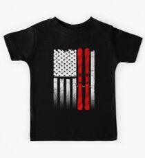 Ski US American Flag - Skiing  Kids Tee