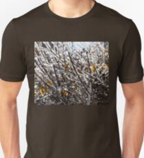 Christmas Decorations by Mother Nature - Frozen Golden Leaves and Brilliant Bokeh Unisex T-Shirt