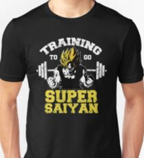 training to go super saiyan 2 gym workout fit power energy character battle  T-Shirt