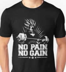 no pain no gain saiyan gym symbol logo humor training stronger power over 9000 T-Shirt