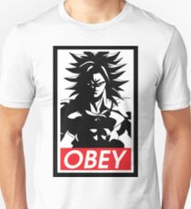 Obey super saiyan god cartoon popular anime muscle big workouting  T-Shirt