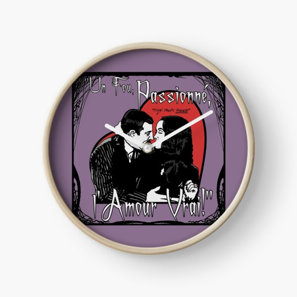 """Un Fou, Passionné, l'Amour Vrai!""- One Crazy, Passionate, True Love! (purple) Clock"