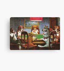 """""""Un ami dans le besoin"""" - Chiens Jouant au Poker Canvas Print"""