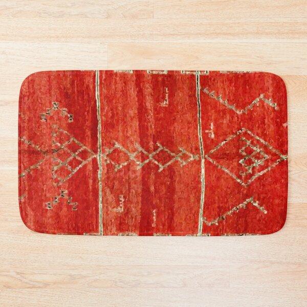 Vintage Red Moroccan Rug Print Bath Mat