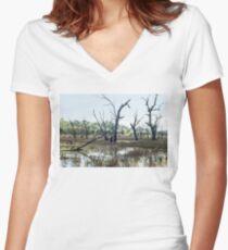 Boggy Bridge Swamp Women's Fitted V-Neck T-Shirt